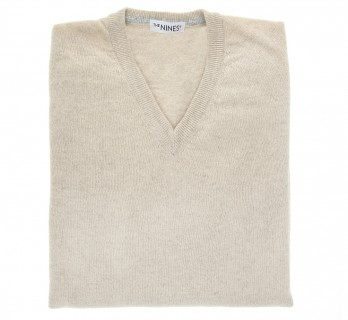 Beige V-Neck Lambswool Sweater