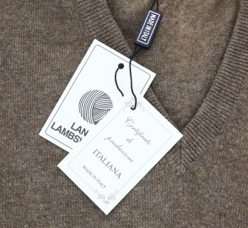 Brown V-Neck Lambswool Sweater