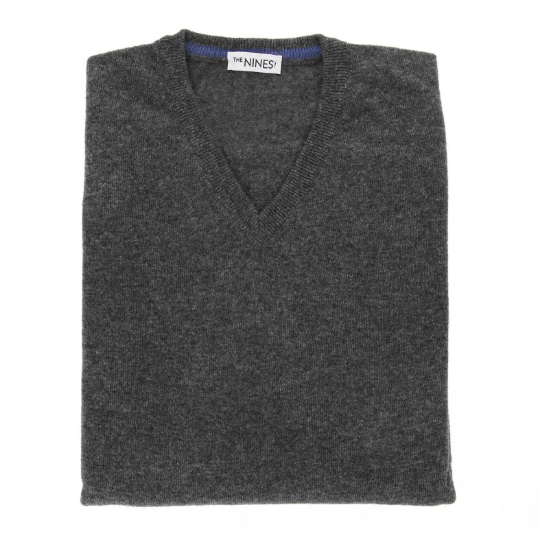 Dark Grey V-Neck Lambswool Sweater