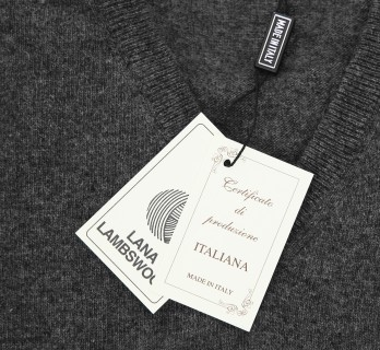 Dark Grey V-Neck Lambswool Sweater