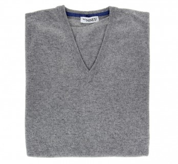 Grey V-Neck Lambswool Sweater