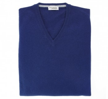 Blue V-Neck Lambswool Sweater