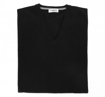 Black V-Neck Lambswool Sweater
