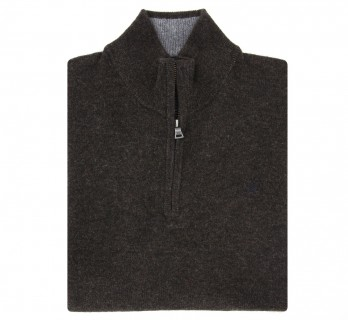 Zip-up Brown Wool Sweater by Hackett