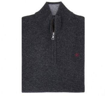 Zip-up Anthracite Wool Sweater by Hackett