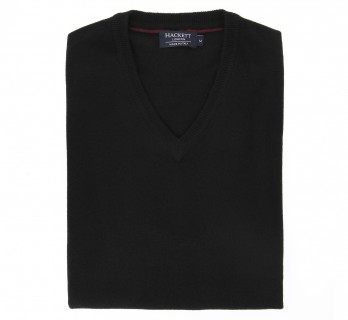 V-Neck Black Wool and Cashmere Sweater by Hackett