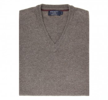 V-neck Brown Wool and Cashmere Sweater by Hackett