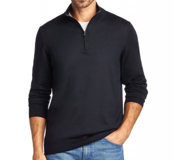 Zip-Up Navy Blue Merino Wool Sweater by Hugo Boss