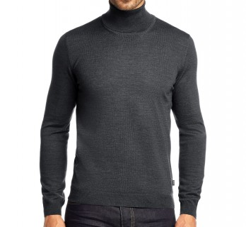 Grey Merino Wool Turtleneck by Hugo Boss