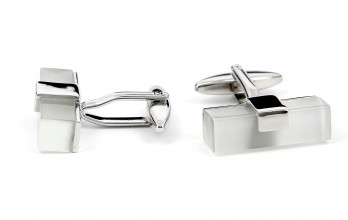 Square rhodium cufflinks - Daejon II