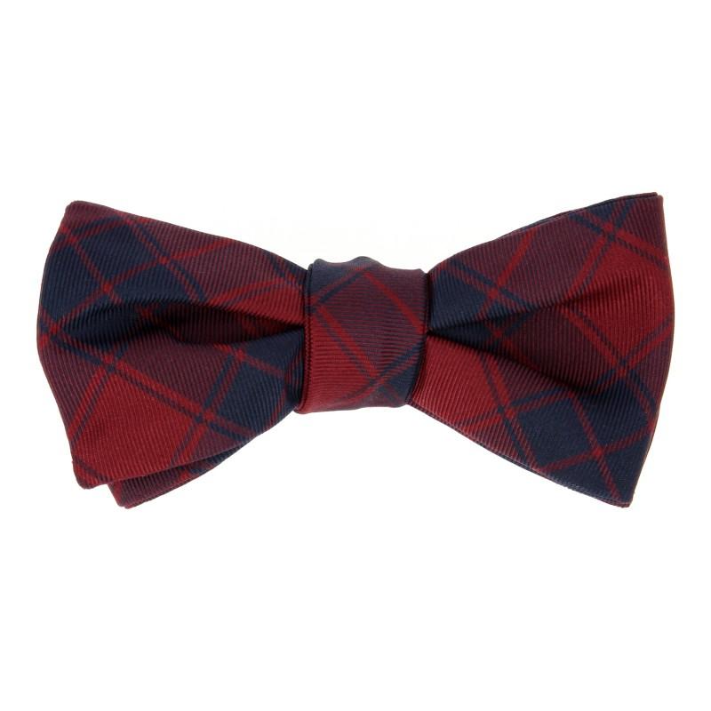 Navy Blue and Burgundy Tartan The Nines Bow Tie - Dunbar