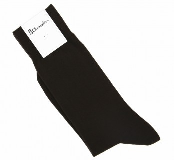 Combed cotton socks in dark brown