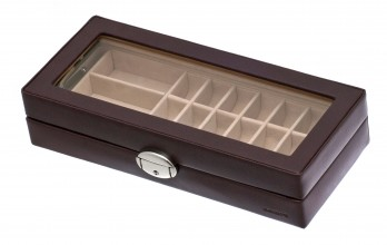Brown casket with cufflinks racks