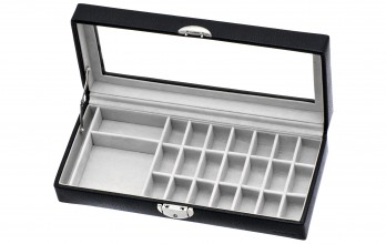 Black casket with cufflinks racks