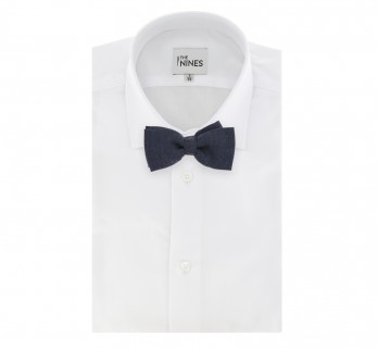 Navy Blue Wool and Silk Bow Tie - Brisbane II