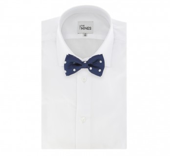 Blue Bow Tie with White Big Dots Tie - Louisville III