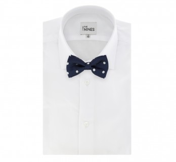 Navy Blue Bow Tie with White Big Dots Tie - Louisville III
