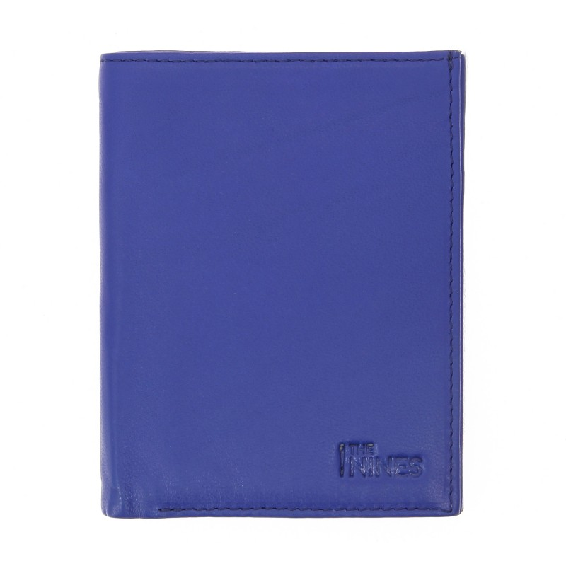 Portefeuille vertical bleu en cuir - MIL