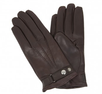Brown leather gloves with press button - VCE