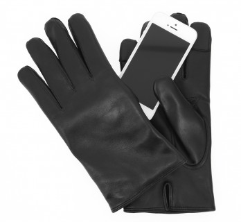 Gants tactiles noirs en cuir - ARL
