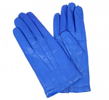Blue leather gloves - SAY