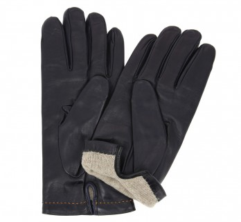 Black leather gloves with orange stiches - MPL