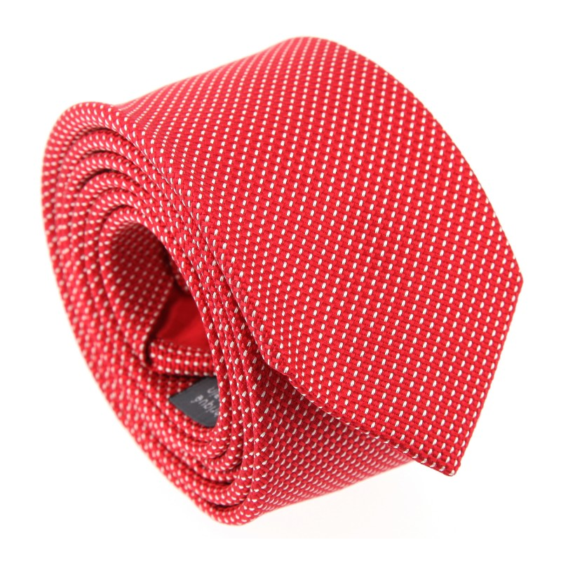 Semi-Plain Red Tie with Pinhead Pattern - Houston