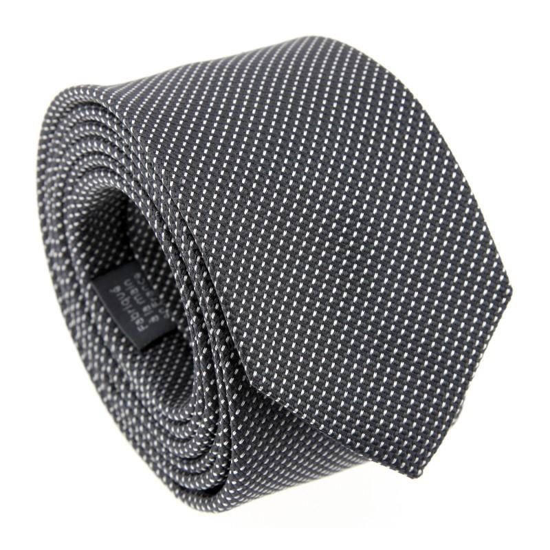 Semi-Plain Grey Tie with Pinhead Pattern - Houston