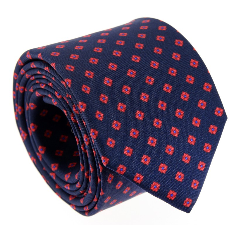 Navy Blue and Red Rhombus Patterned The Nines Tie - Norfolk