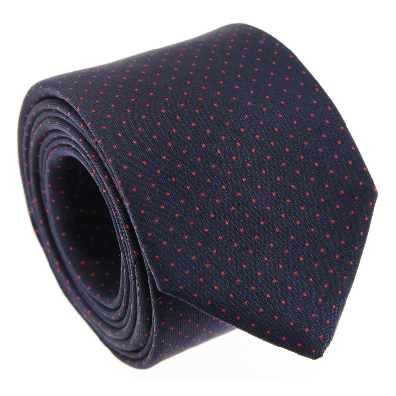 Navy Blue and Red Dots The Nines Tie - Preston II