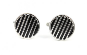 Black, round cufflinks - Hackney II
