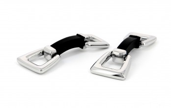 Silver and black stirrup cufflinks - Auteuil III