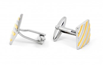 Gold and silver cufflinks - Rhombe II