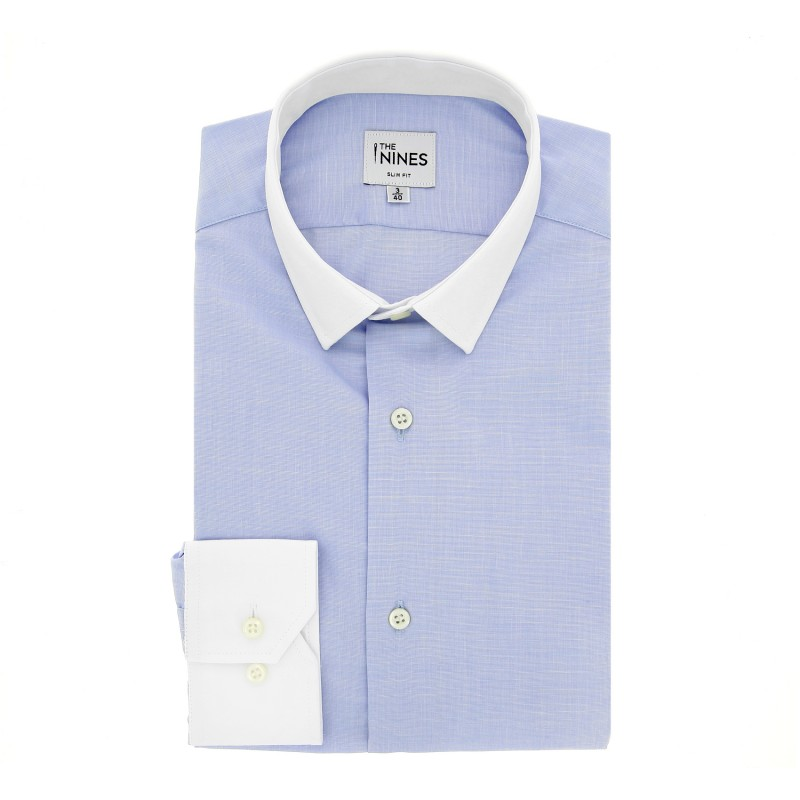 Slim Fit Light Blue End-on-End White Small Collar Shirt