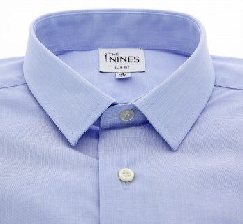 Slim Fit Blue End-On-End Small Collar Double Cuff Shirt
