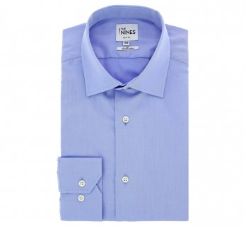 Blue Poplin Shark Collar Button Cuff Shirt Slim Fit