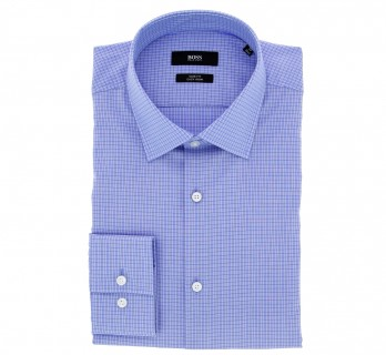 Slim Fit Blue with Small Check Classic Collar Shirt by Hugo Boss