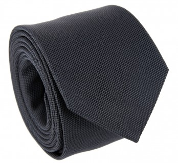 Dark Grey Basket Weave Silk The Nines Tie - Saint Honoré II