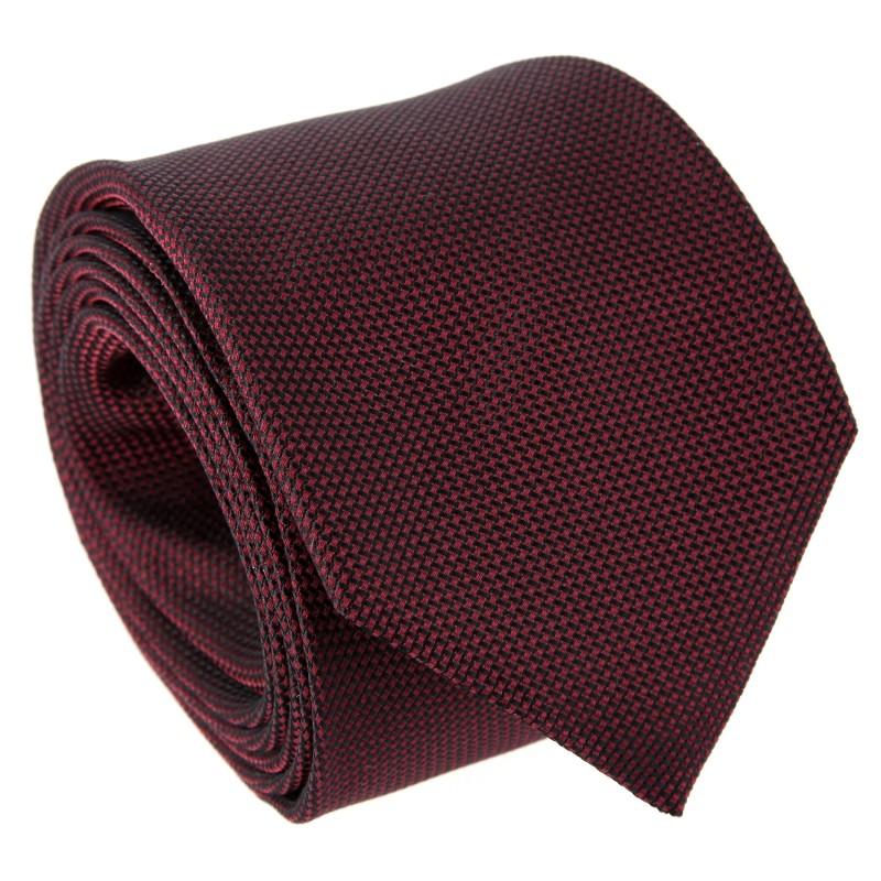 Burgundy Basket Weave Silk Five Fold Tie - Vendôme