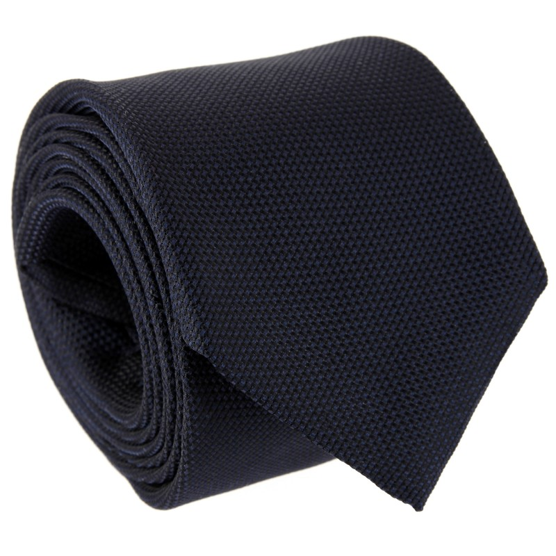 Navy Blue Basket Weave Five Fold Tie - Vendome