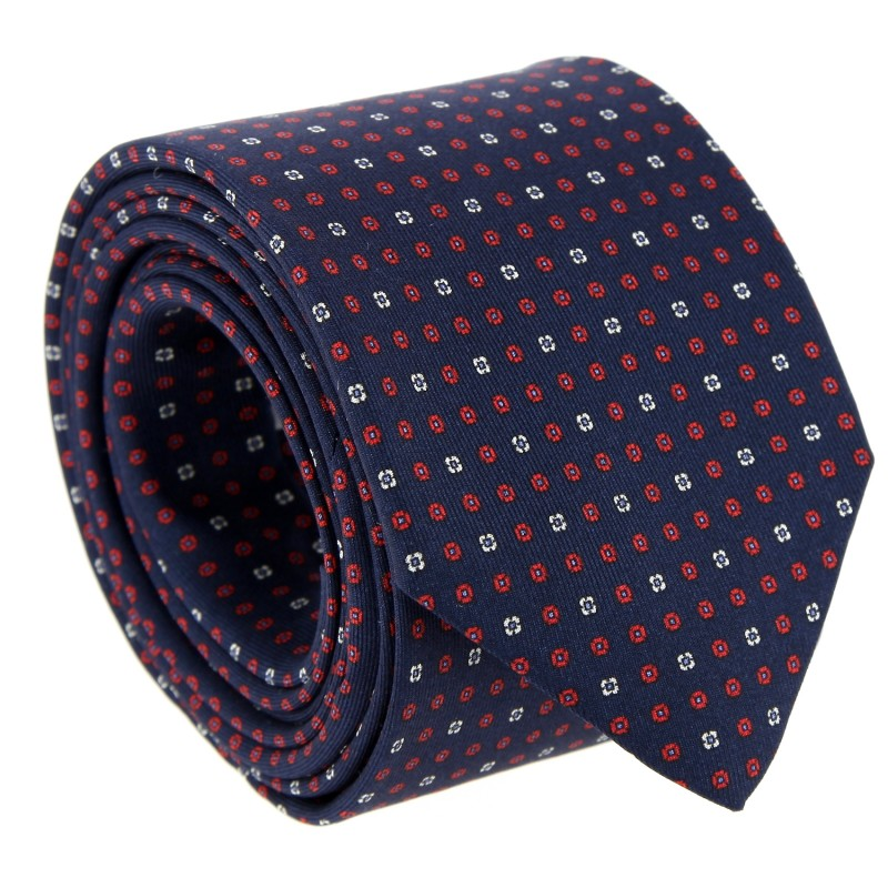 Navy Blue The Nines Tie with Red and White Pattern - Vence II