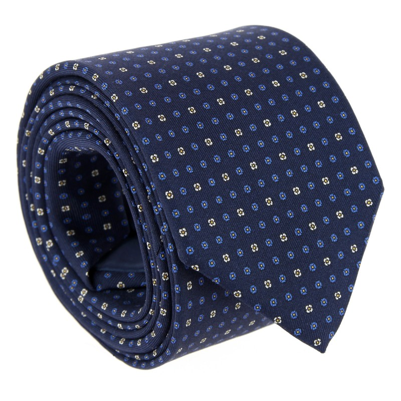 Navy Blue The Nines Tie with Blue and White Pattern - Vence II