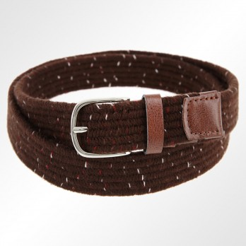 HEATHER BROWN WOOLEN ELASTIC BRAIDED BELT