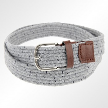 HEATHER GREY WOOLEN ELASTIC BRAIDED BELT