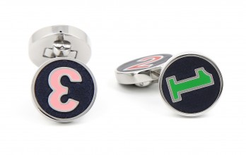 Hackett cufflinks - Navy Blue Enamel Polo Number