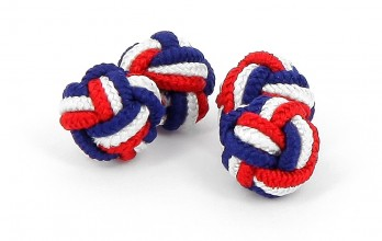 Blue, white and red silk knots - Bombay