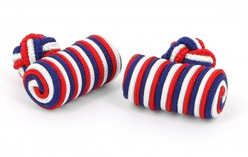 Blue, red and white barrel silk knots - Bali