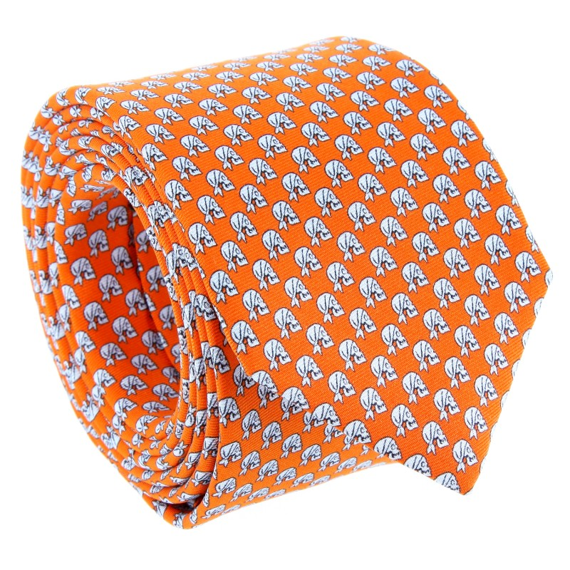 Orange Skull Head Pattern The Nines Tie - Santo-Domingo IV