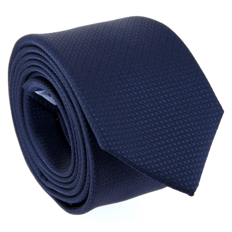 Navy Blue Semi Plain Silk The Nines Tie - Pistoia