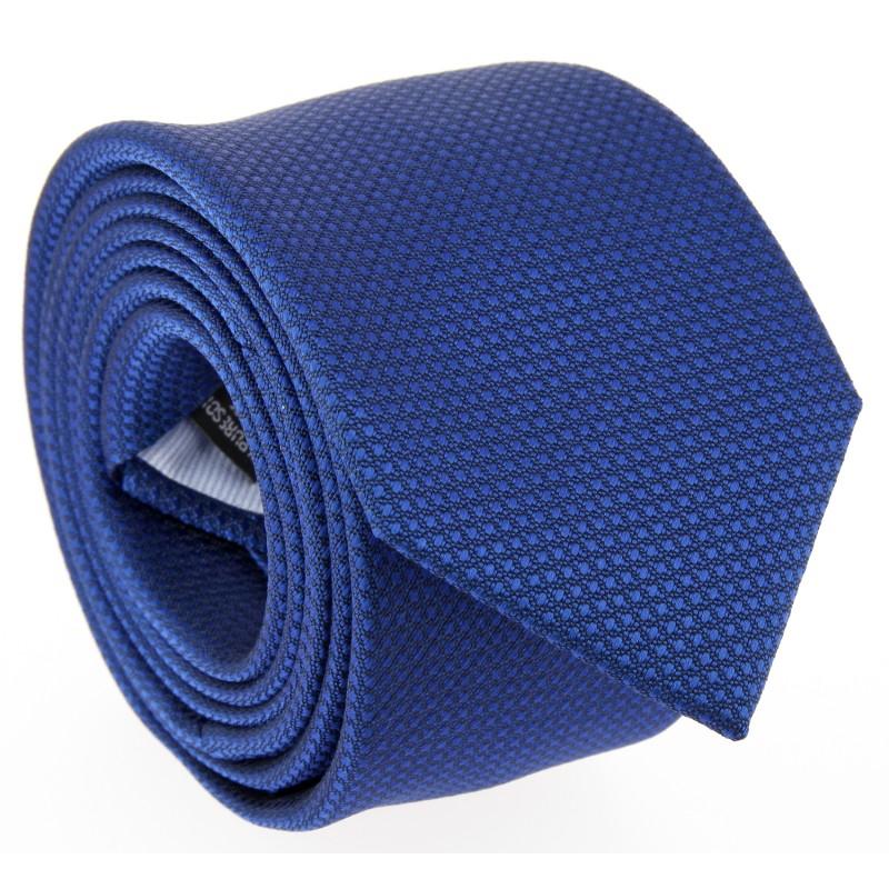 Cobalt Blue Semi Plain Silk The Nines Tie - Pistoia